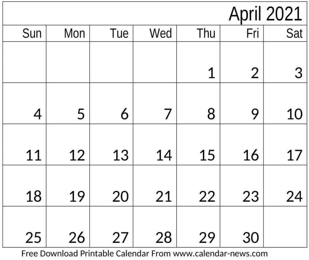 Calendar April 2021