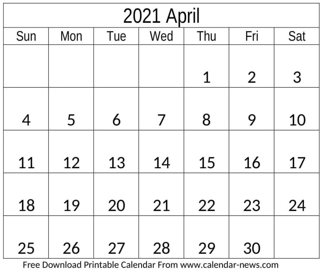 2021 April Calendar