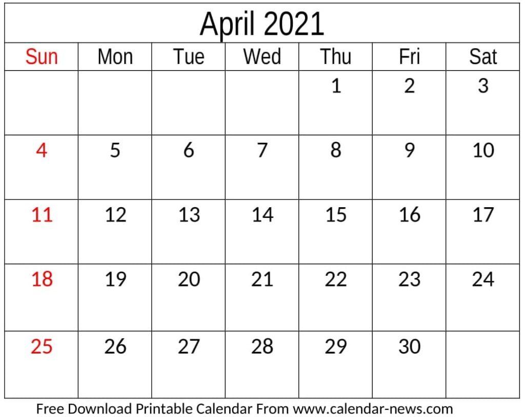 April Calendar 2021