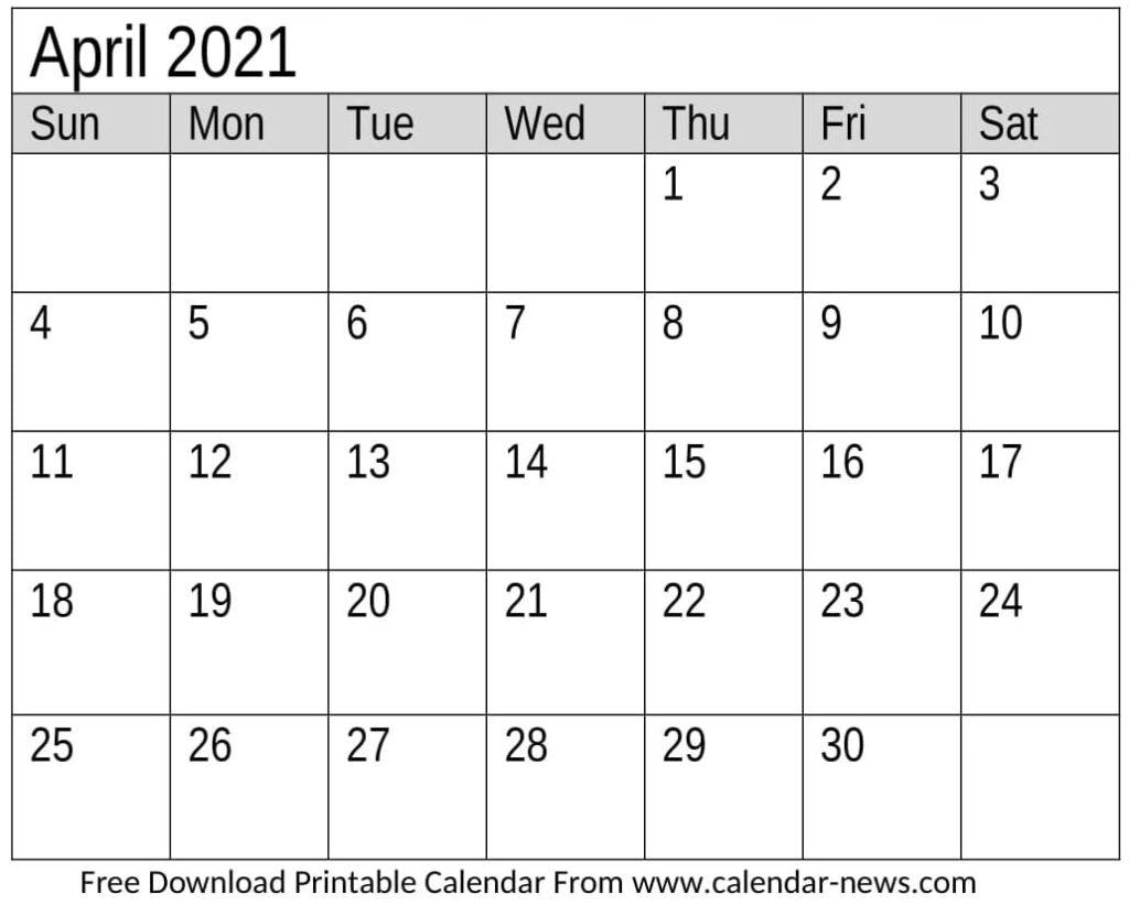 Calendar 2021 April