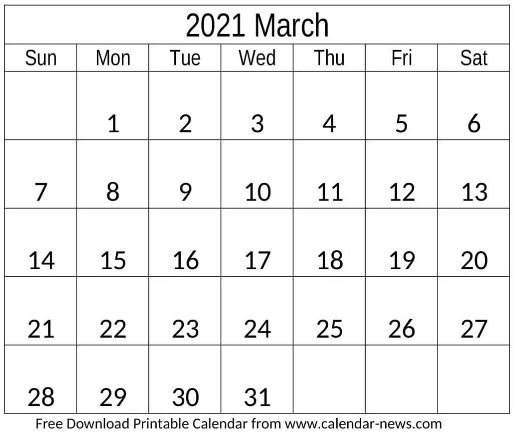 Calendar 2021 March