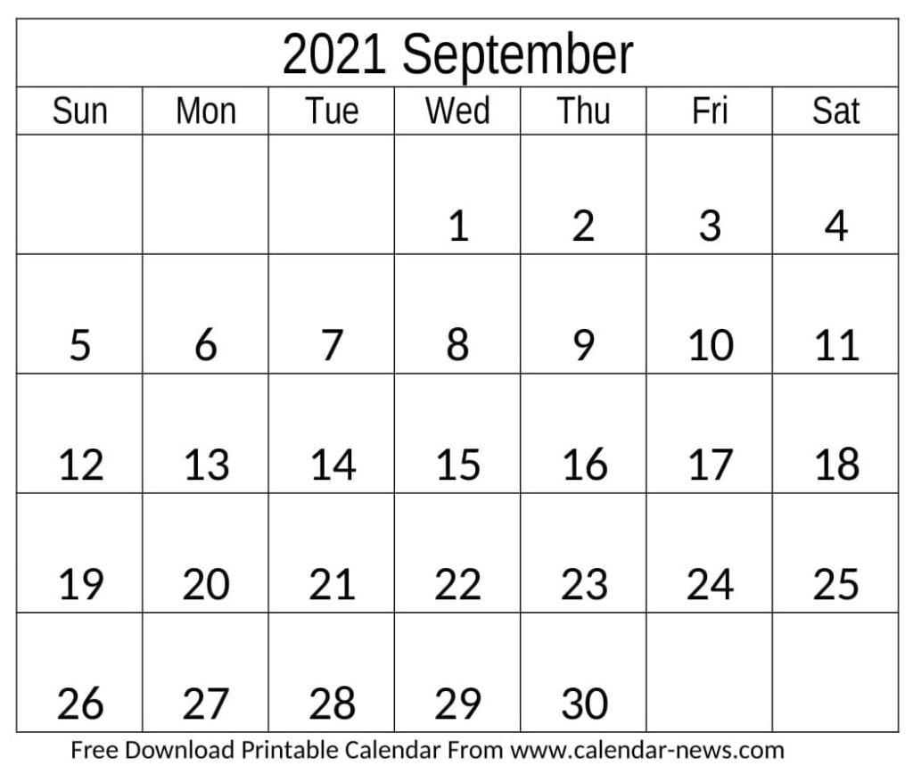 September 2021 Calendar With Holiday Notes