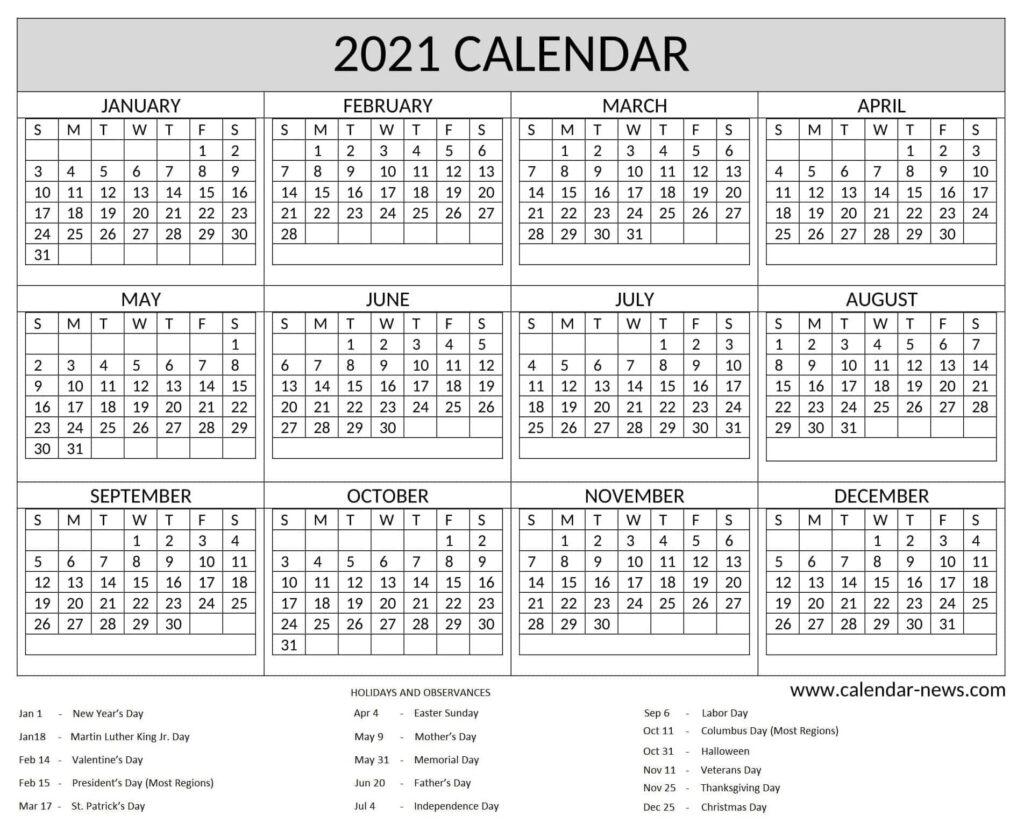 Yearly Calendar 2021
