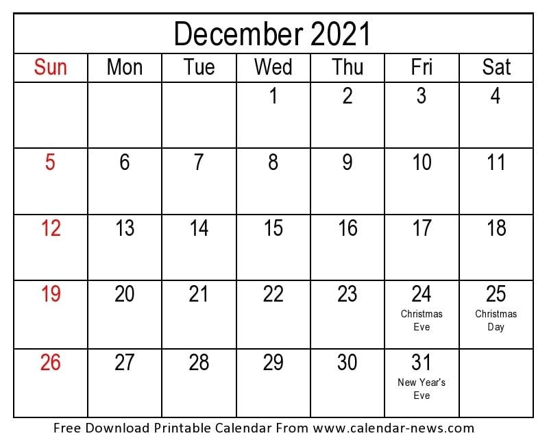 2021 December Calendar