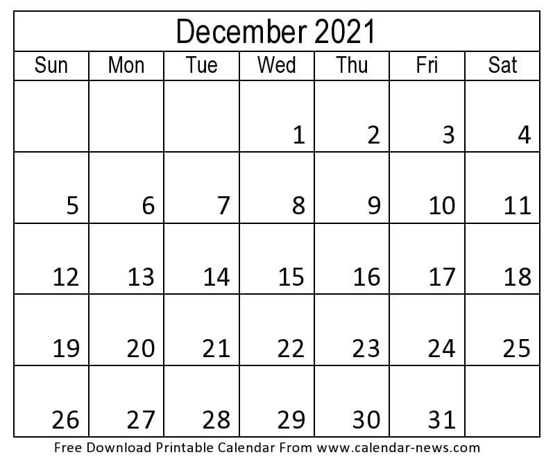 2021 Calendar December