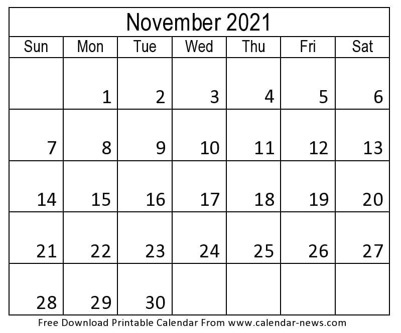2021 November Calendar