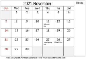 2021 November Calendar With Holidays