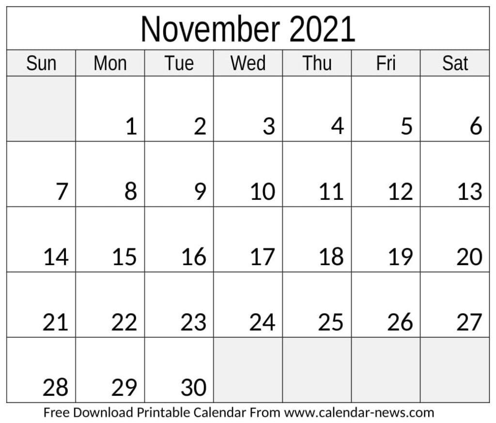 Printable Calendar November 2021 With Holidays